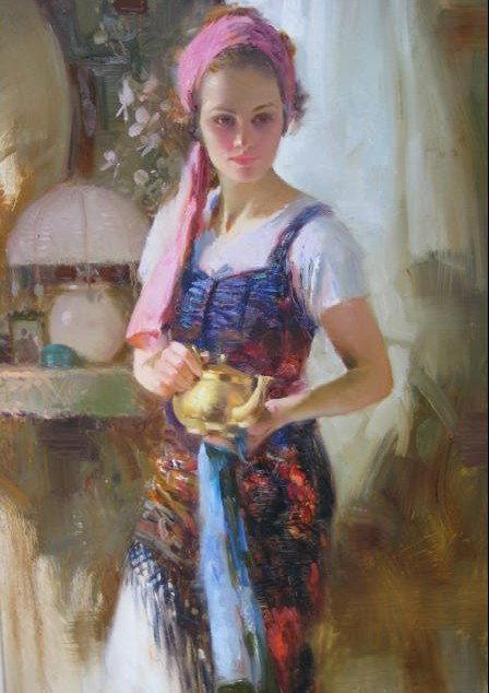 girl with teapot a pino original painting