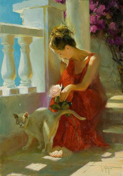 With a cat a vladimir volegov original painting for Original oil paintings for sale by artist