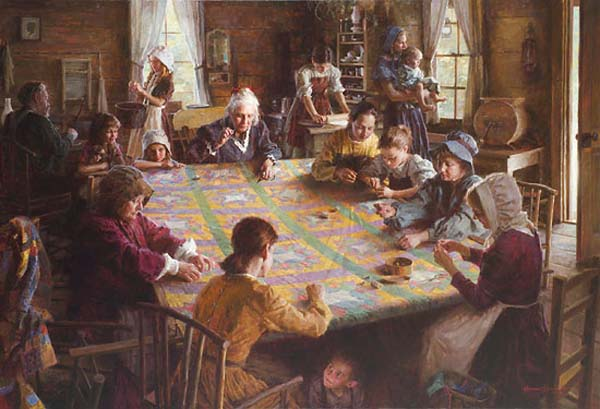 The The Quilting Bee, 19th Century Americana by Morgan Weistling by Morgan Weistling